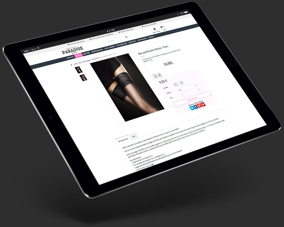 site e-commerce prestashop de paradise boutik sur tablette